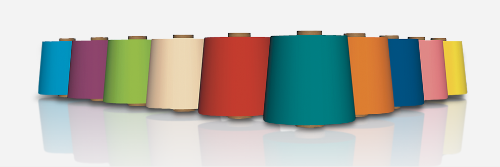 3D-image of yarn packages; colorful variety for all types of usage